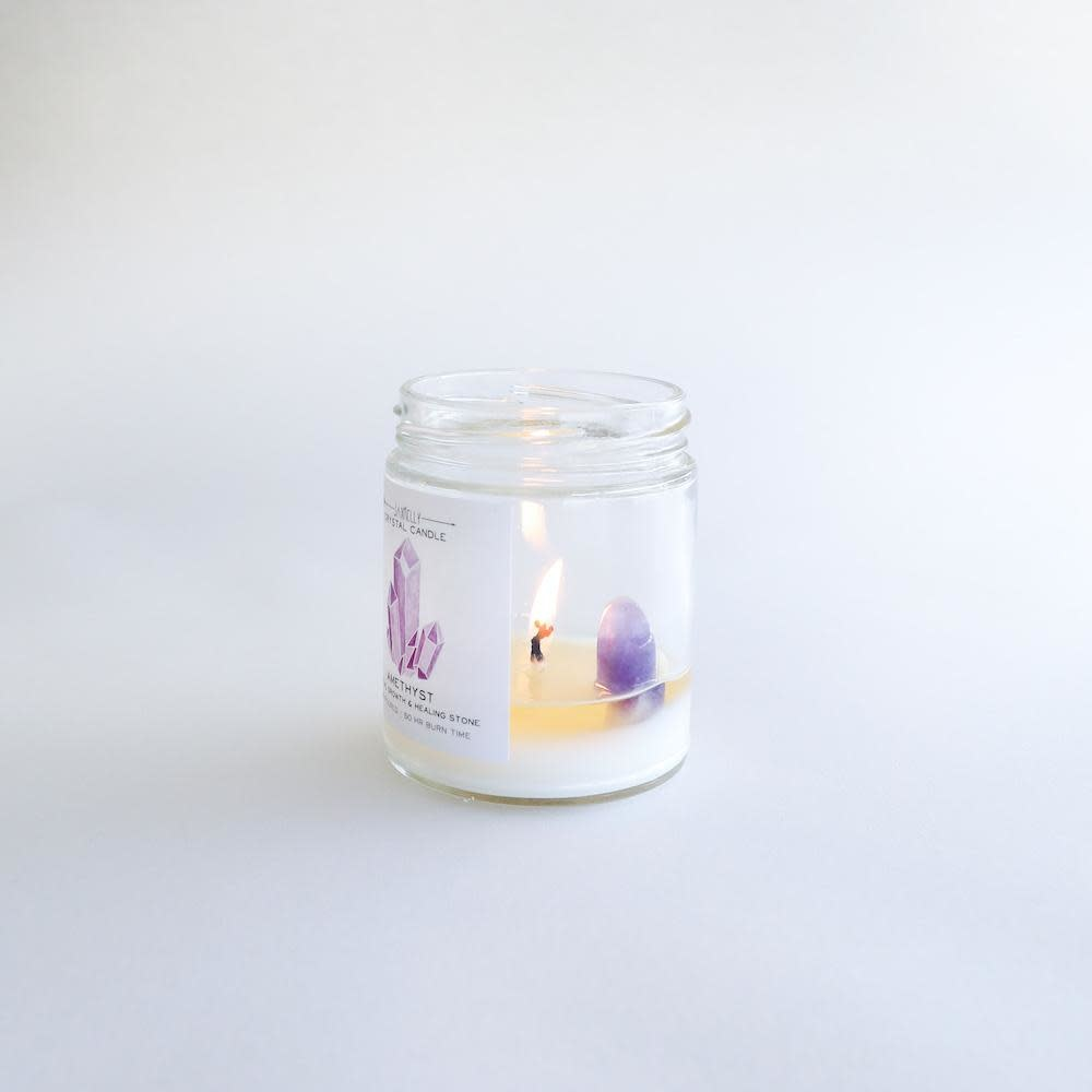 Amethyst Crystal Candle - Spiritual Growth & Healing