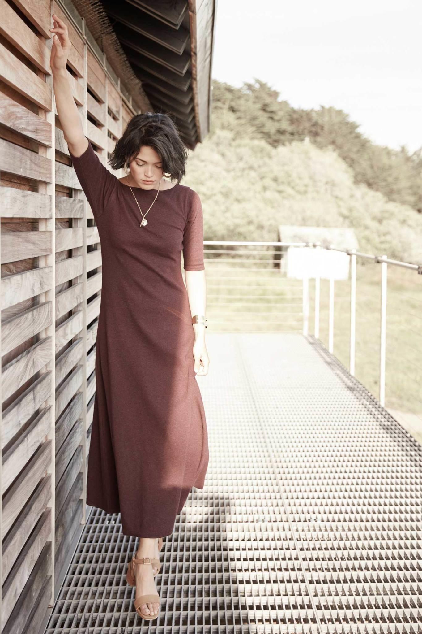 Elbow Sleeve Boatneck Dress