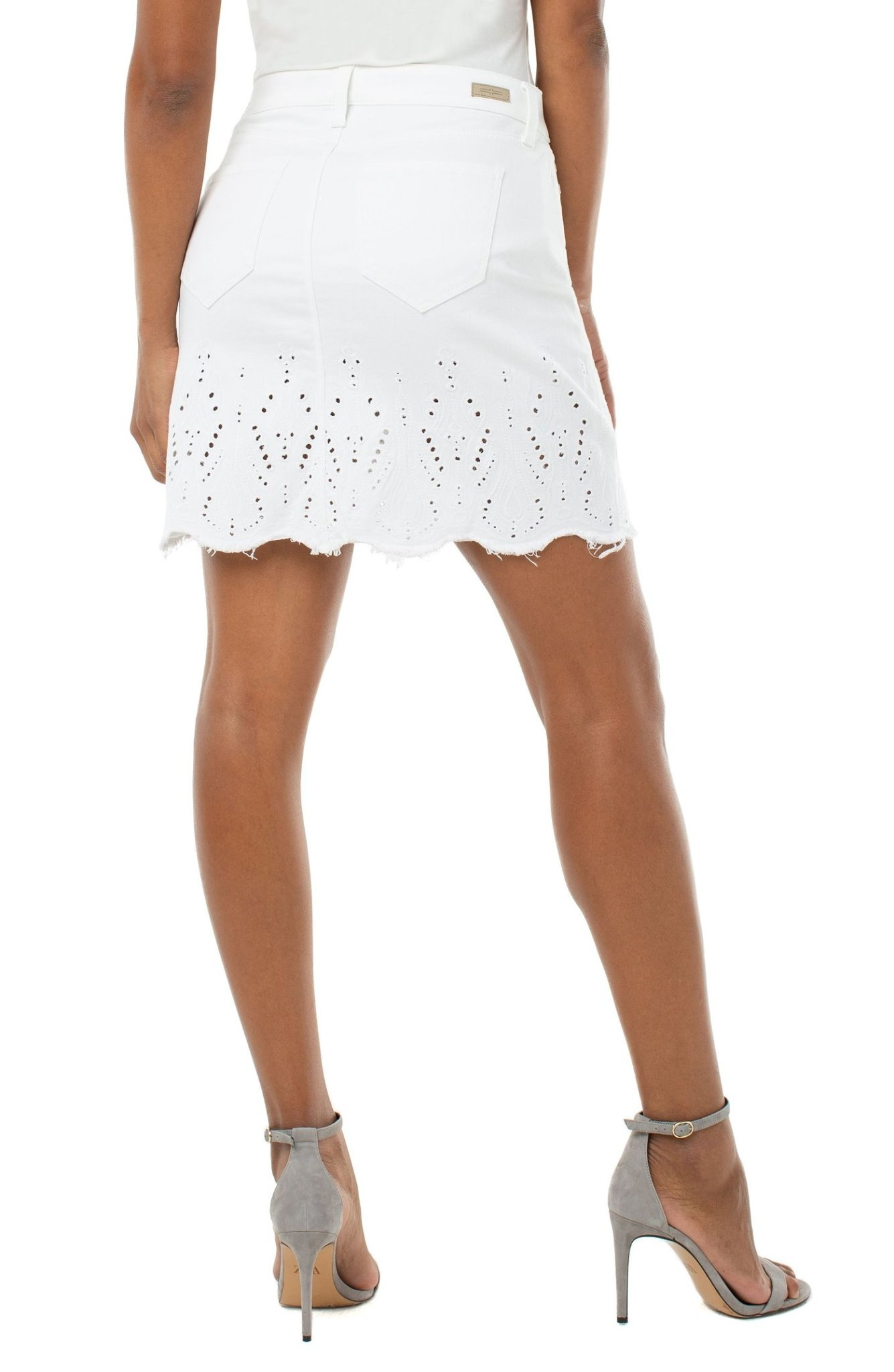 Raw Hem Skirt With Embroidery