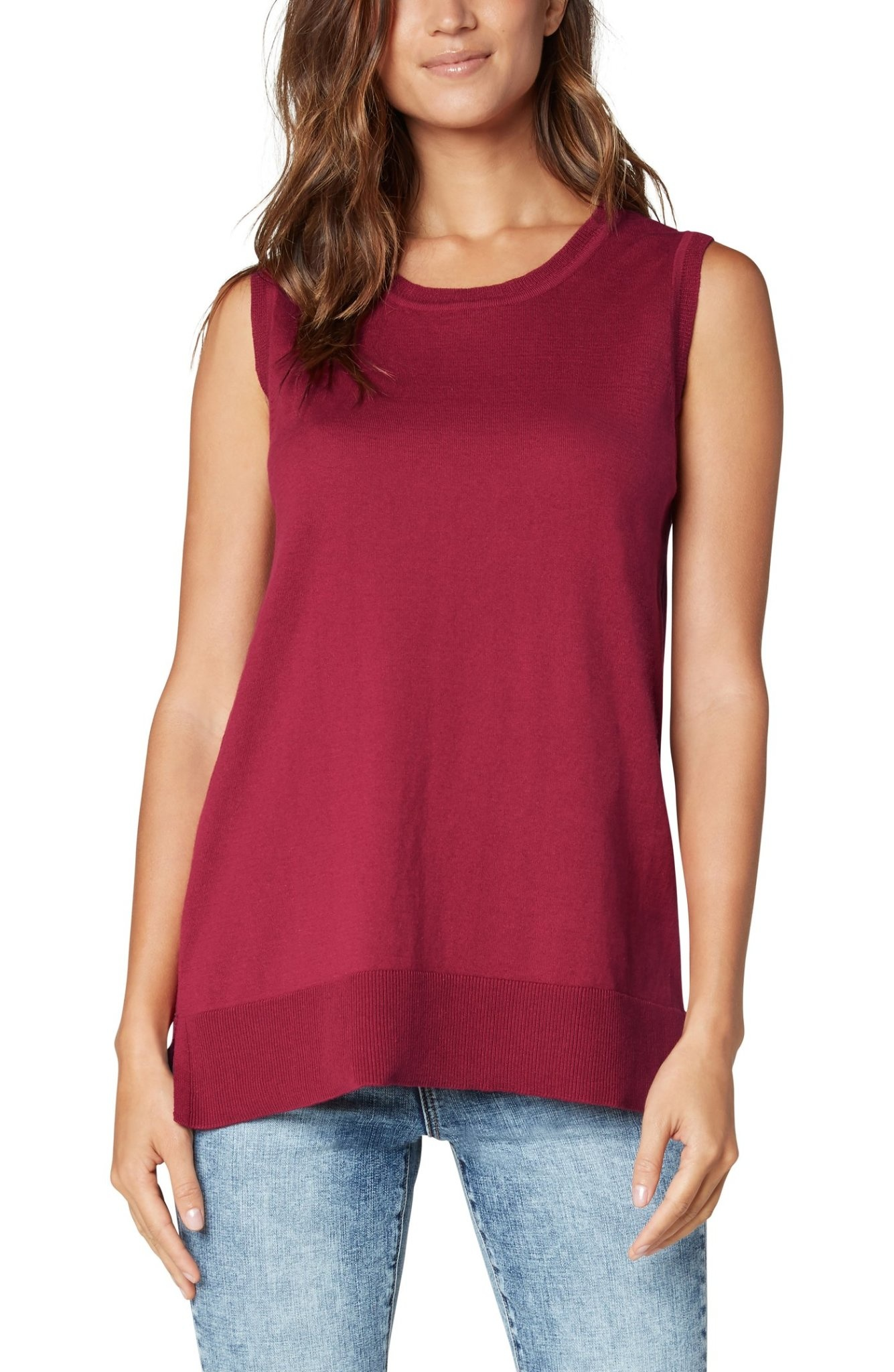 Sleeveless Sweater With Side Slits