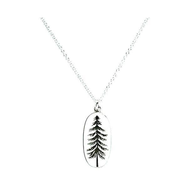 Sterling Pine Tree Pendant Necklace