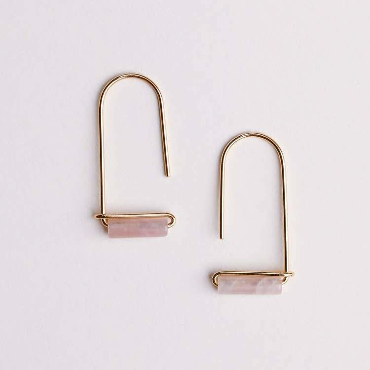 Rose Quartz Gemstone Drop Earring