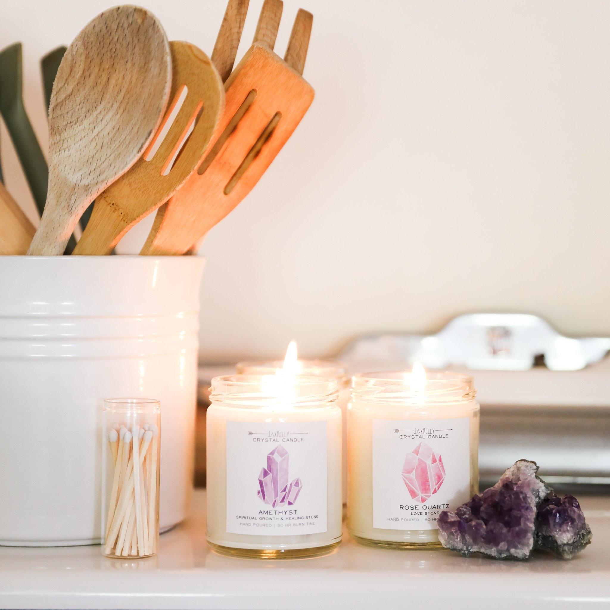 Rose Quartz Crystal Candle - Love
