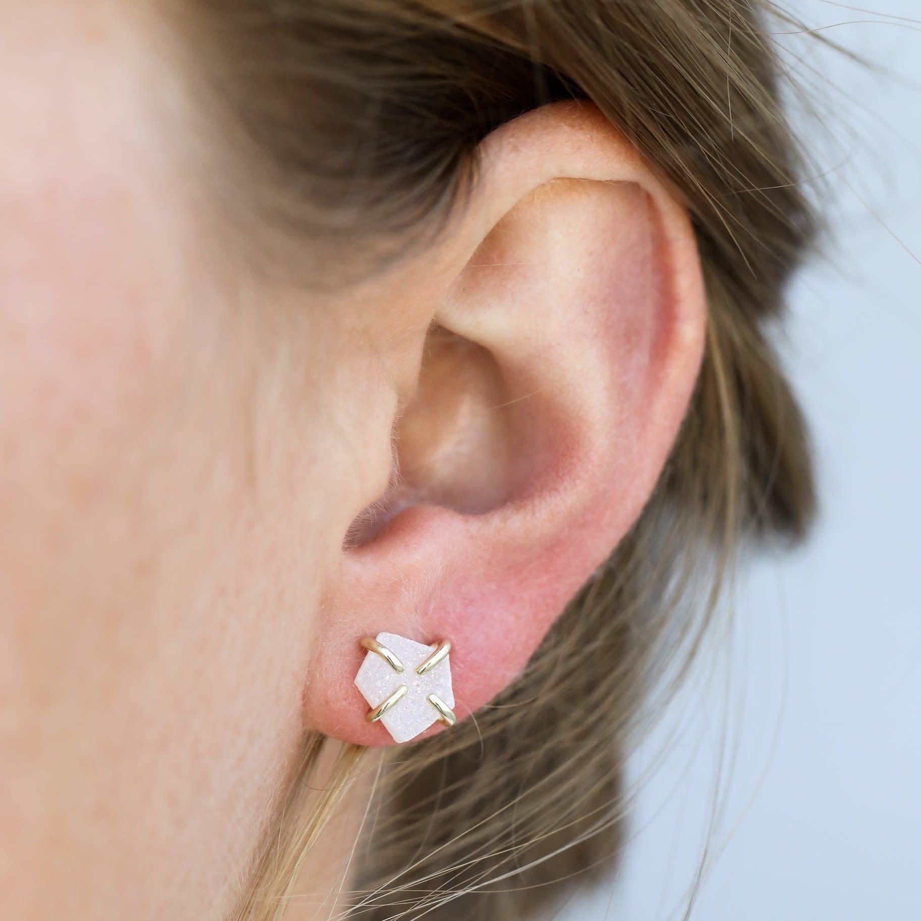 Druzy Prong Earring