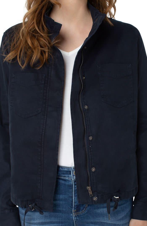 Cinch Waist Jacket With Patch Pockets