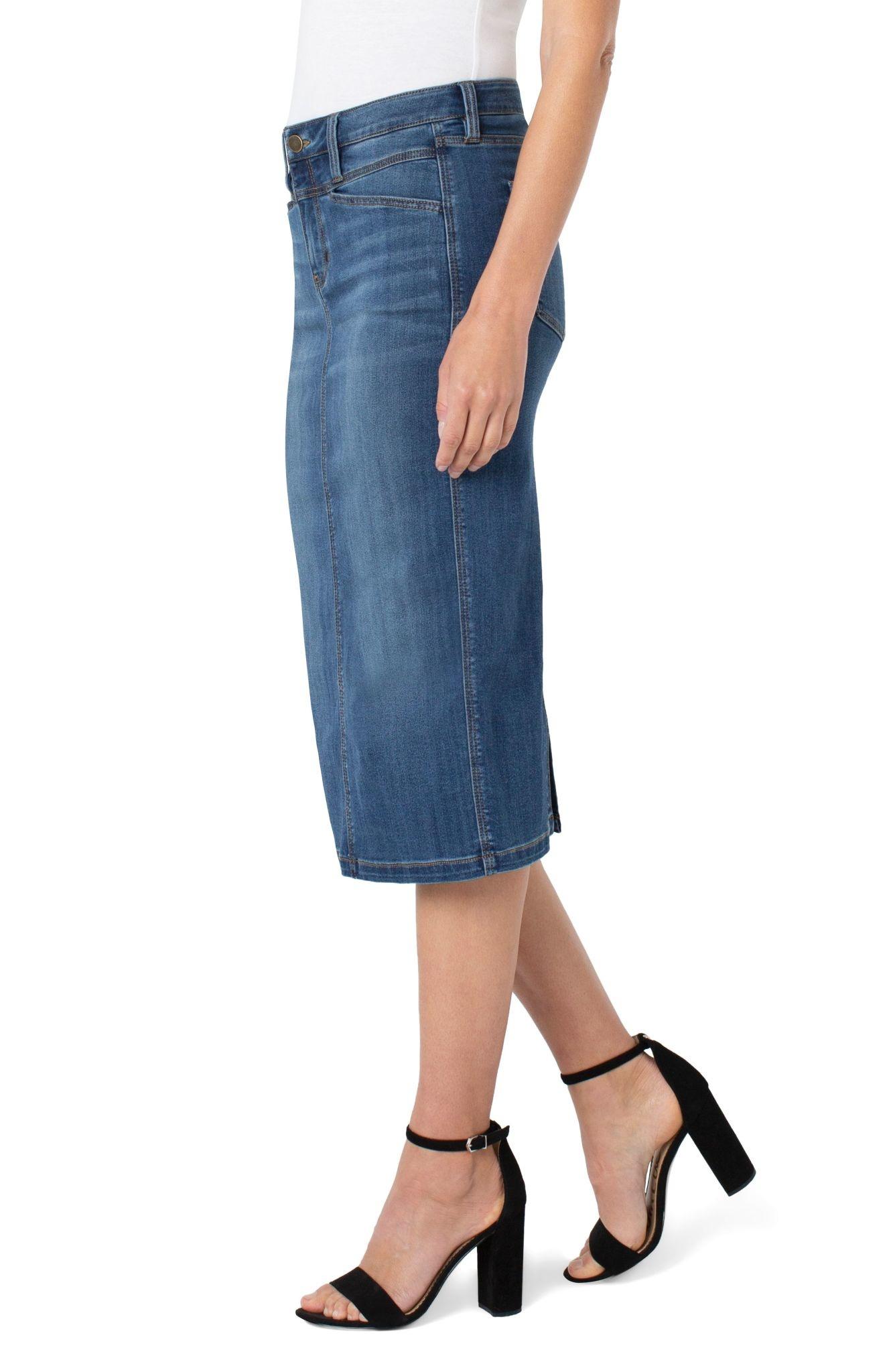 Front Yoke Midi Skirt
