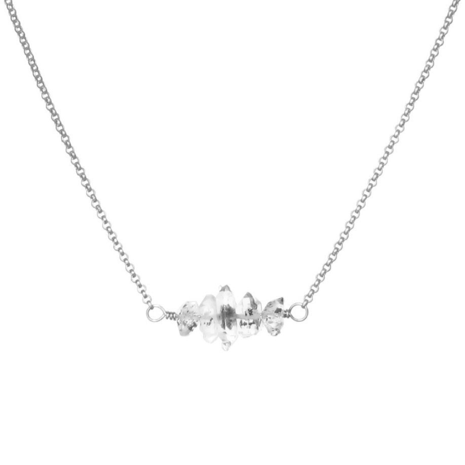 Silver Herkimer Bar Necklace