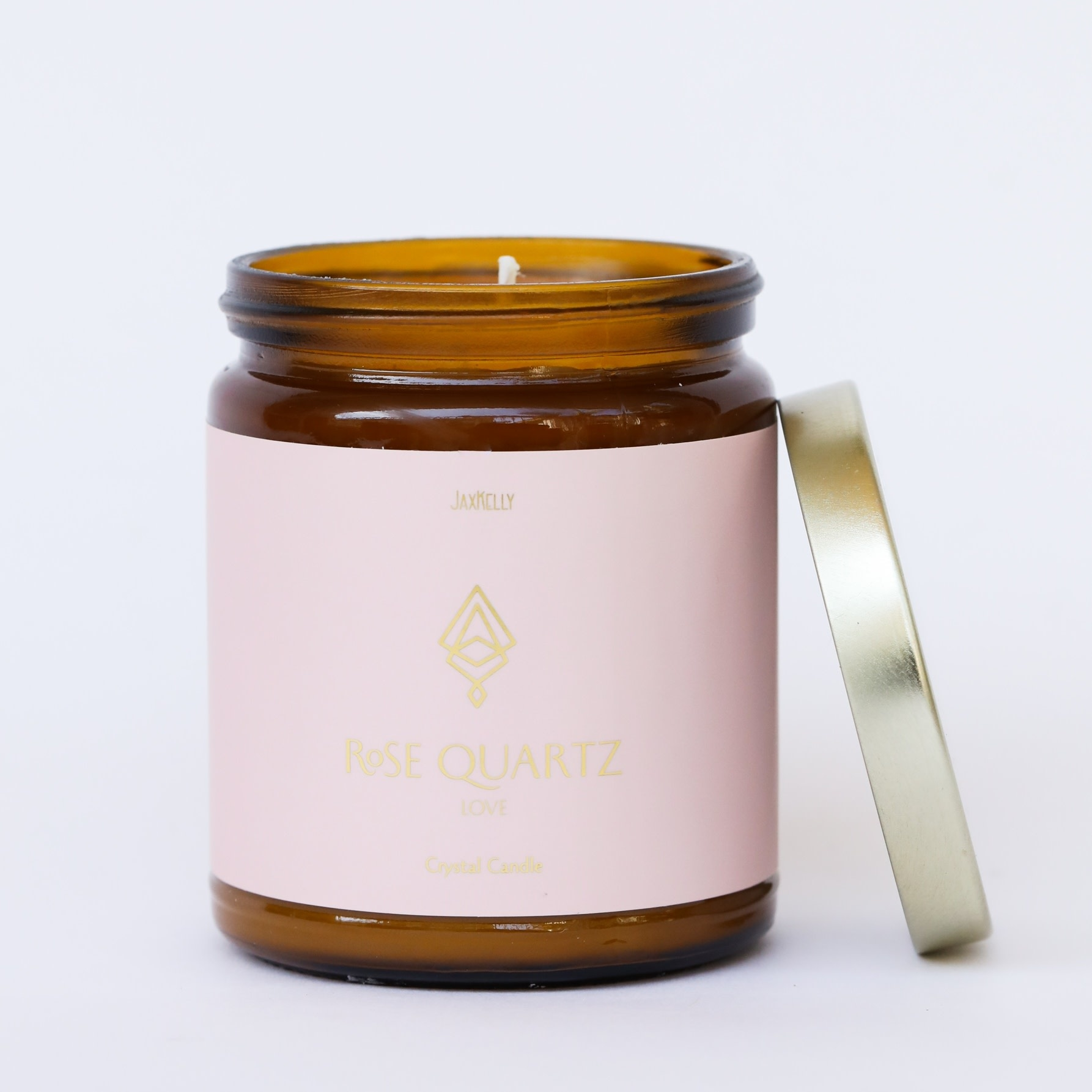 Rose Quartz Amber Crystal Candle