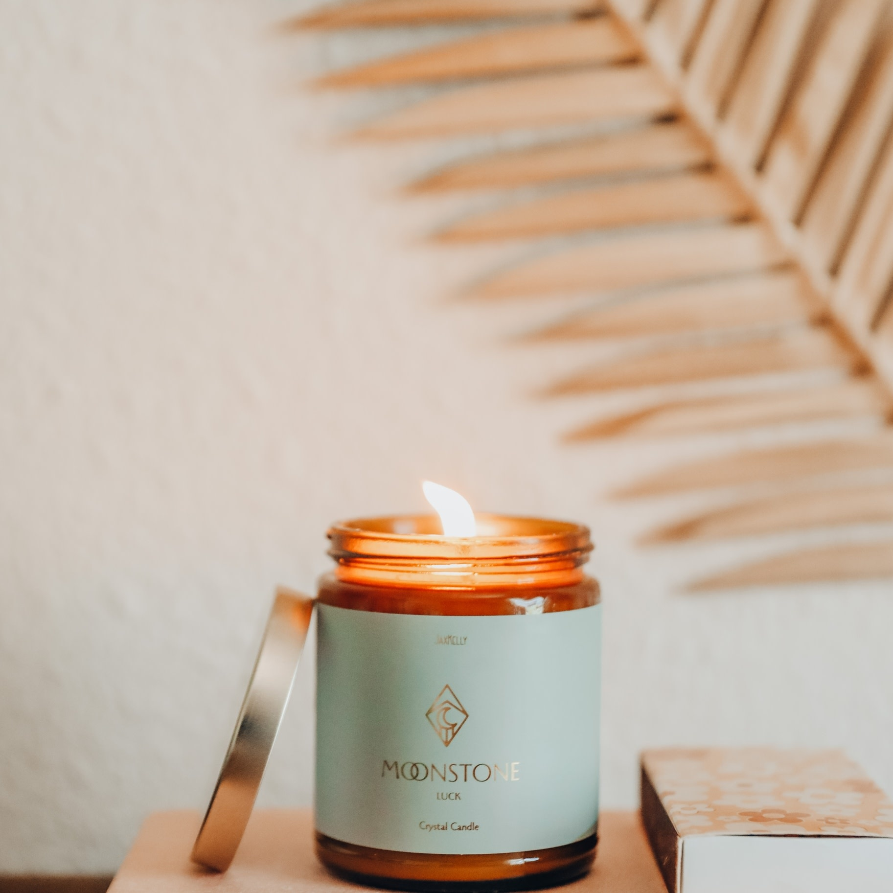 Moonstone Amber Crystal Candle