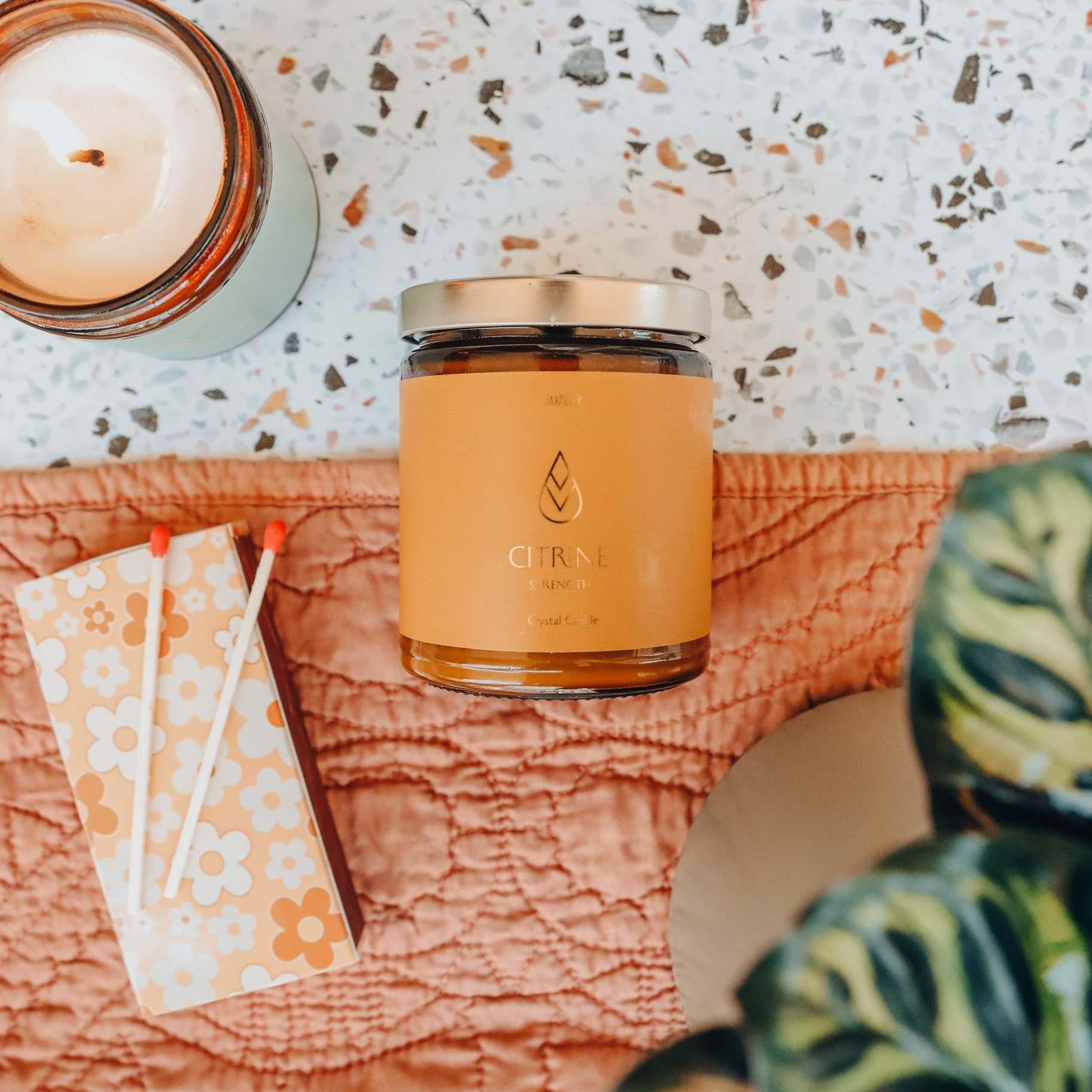Citrine Amber Crystal Candle