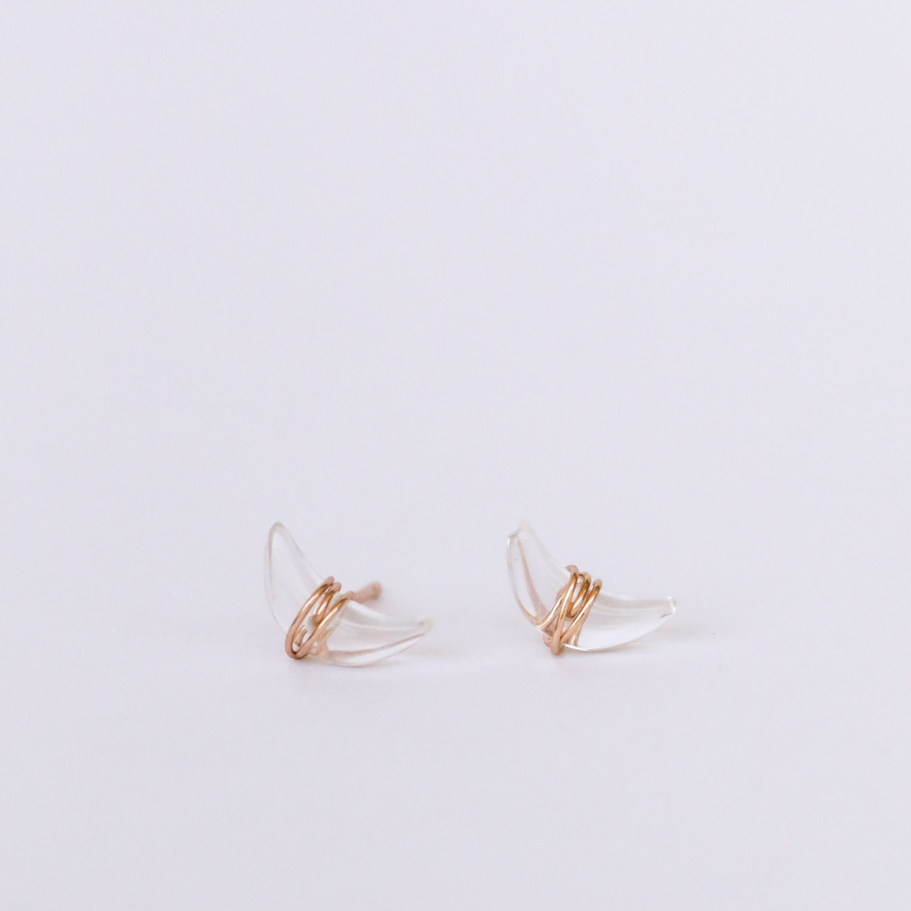 Wire-Wrapped Moon Studs