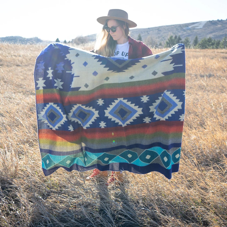 Andean Alpaca Blanket - Ocean Breeze - Light Blue/Dark