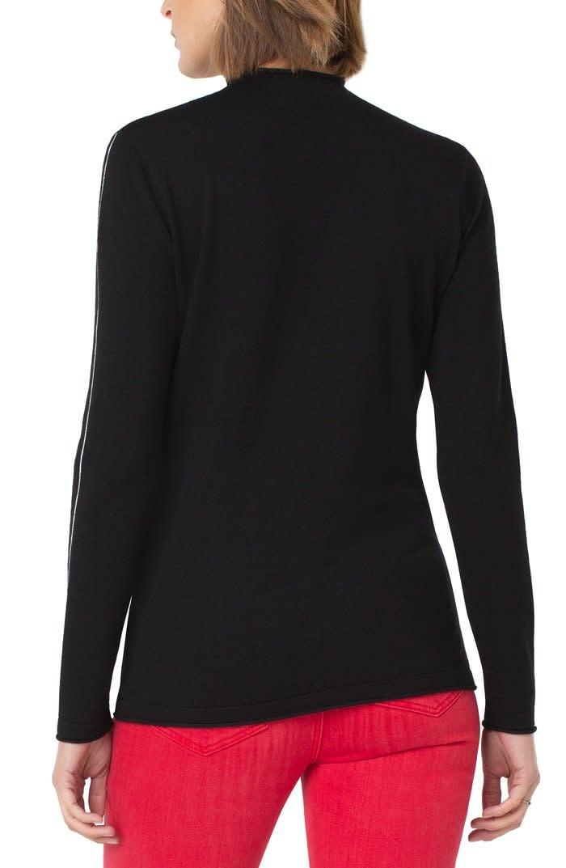 Mock Neck Rolled Hem Long Sleeve Sweater