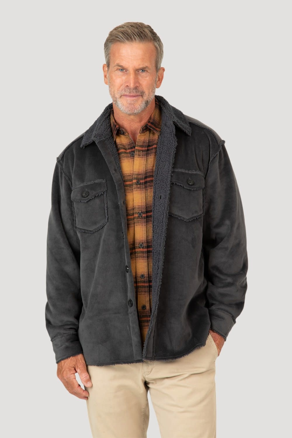 Washed Cord & Ultra Shag Button Jacket