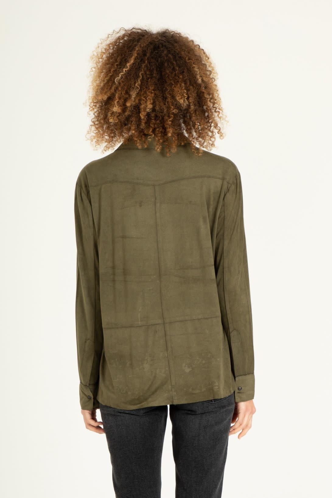 Anya Faux Suede Button Up