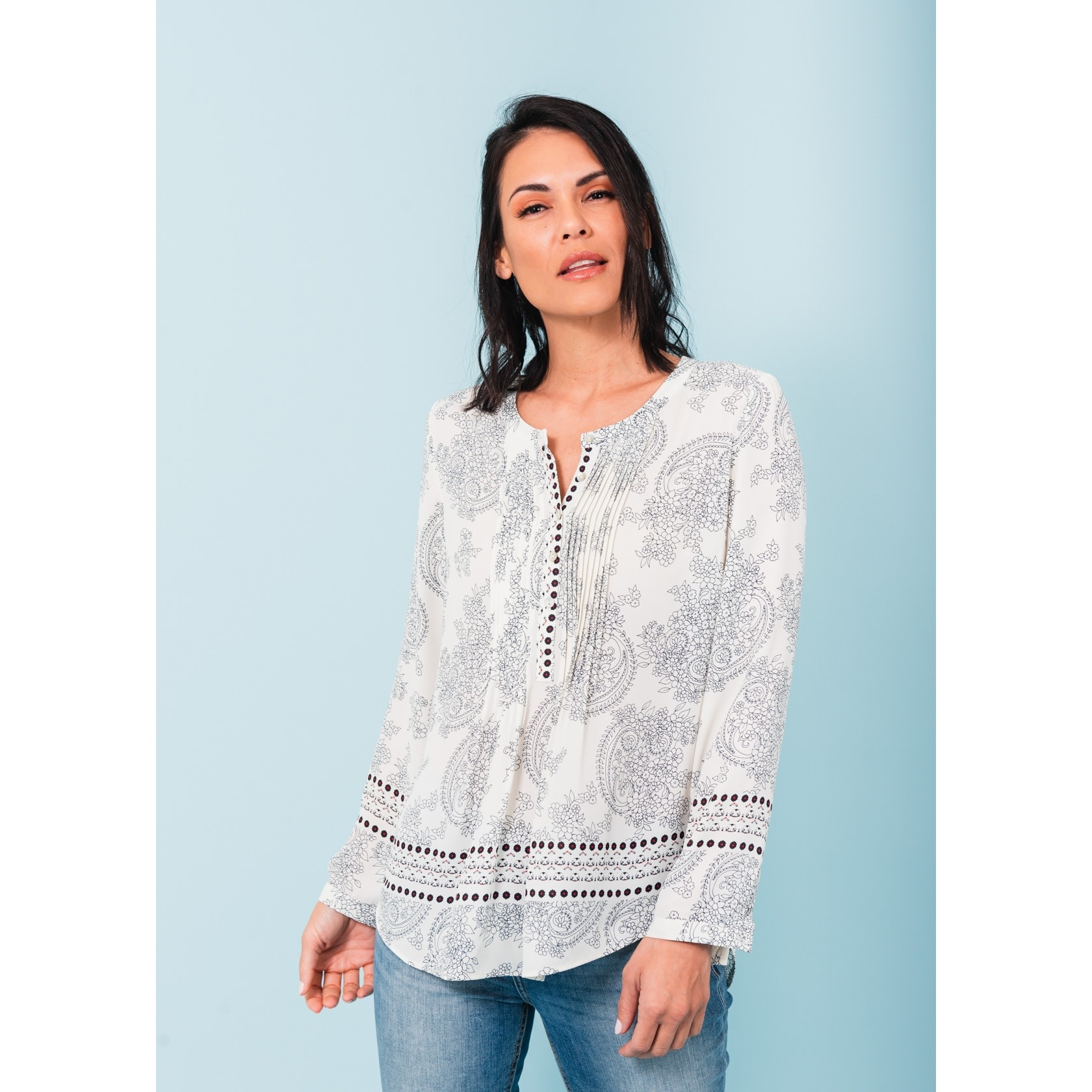Mila Printed Button-Front Top