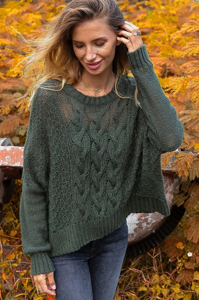 Autumn Cable Crew Lightweight Sweater