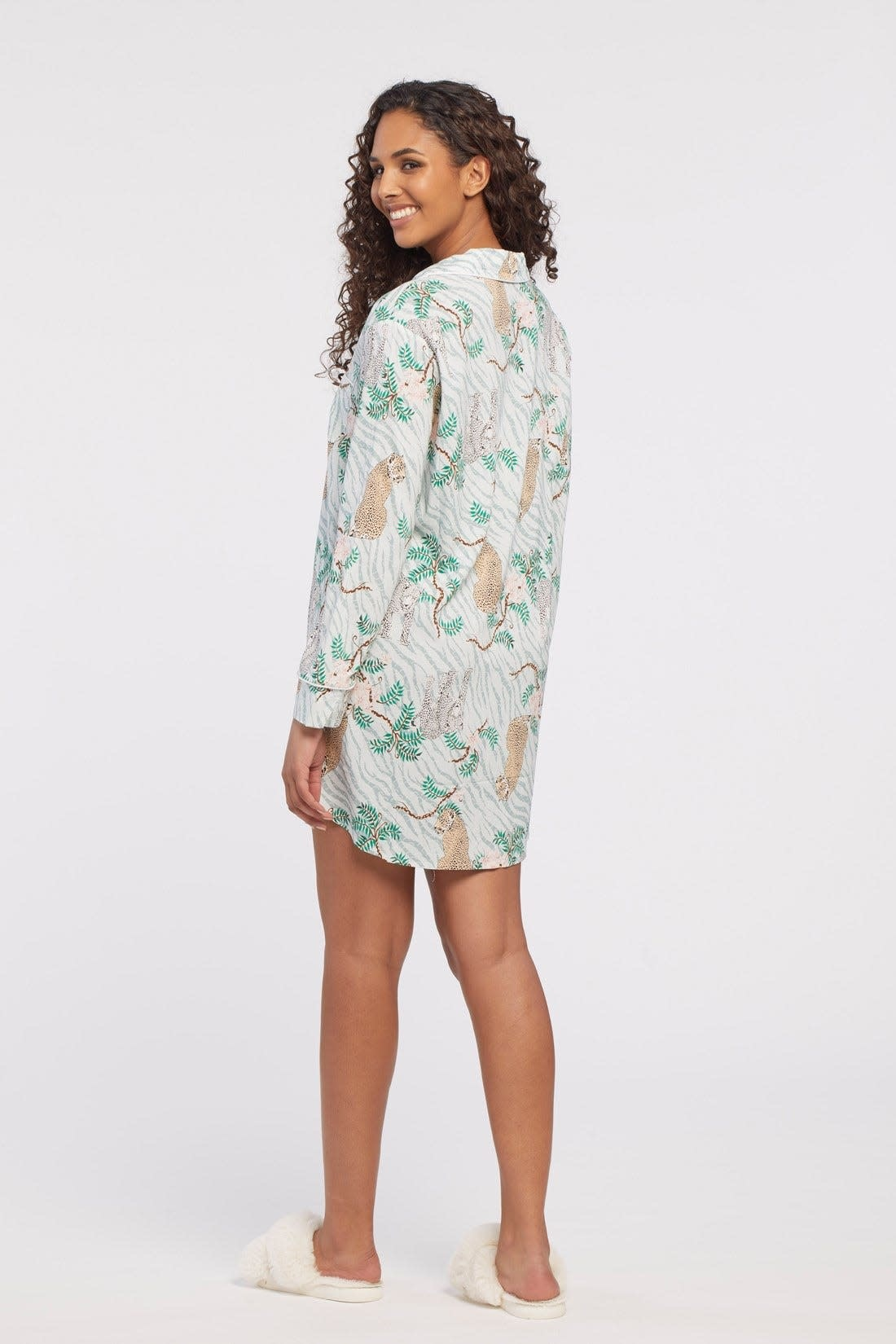Long Sleeve Button Front Nightshirt