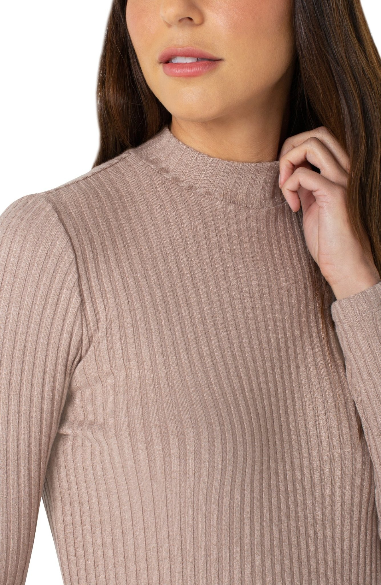 Mock Neck Long Sleeve Knit Top