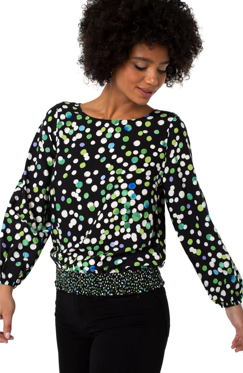 Puff Sleeve Top With Smocked Waistband