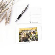 Le 1603 Carte postale - Vélo de côté avec fleurs- horizontal