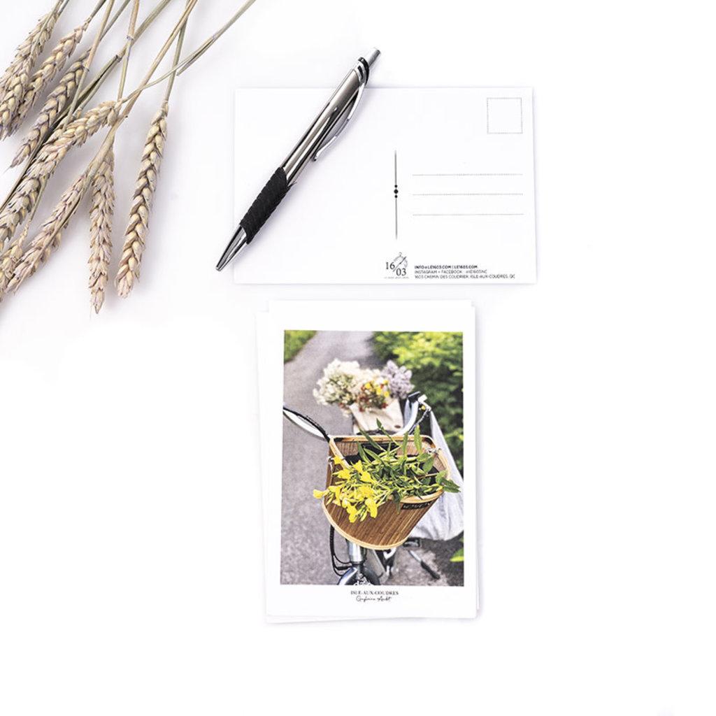 Le 1603 Carte postale - Fleurs dans panier vélo- vertical