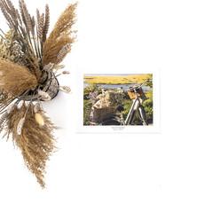 Le 1603 Affiche aquarelle - Vélo de côté avec fleurs - horizontal