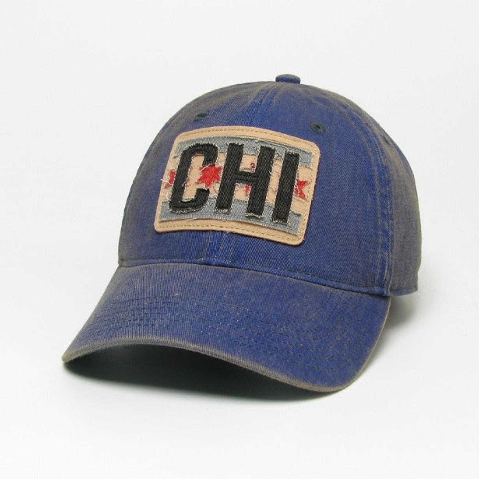 League League Legacy Trucker Hat with Chicago Flag Patch, Blue