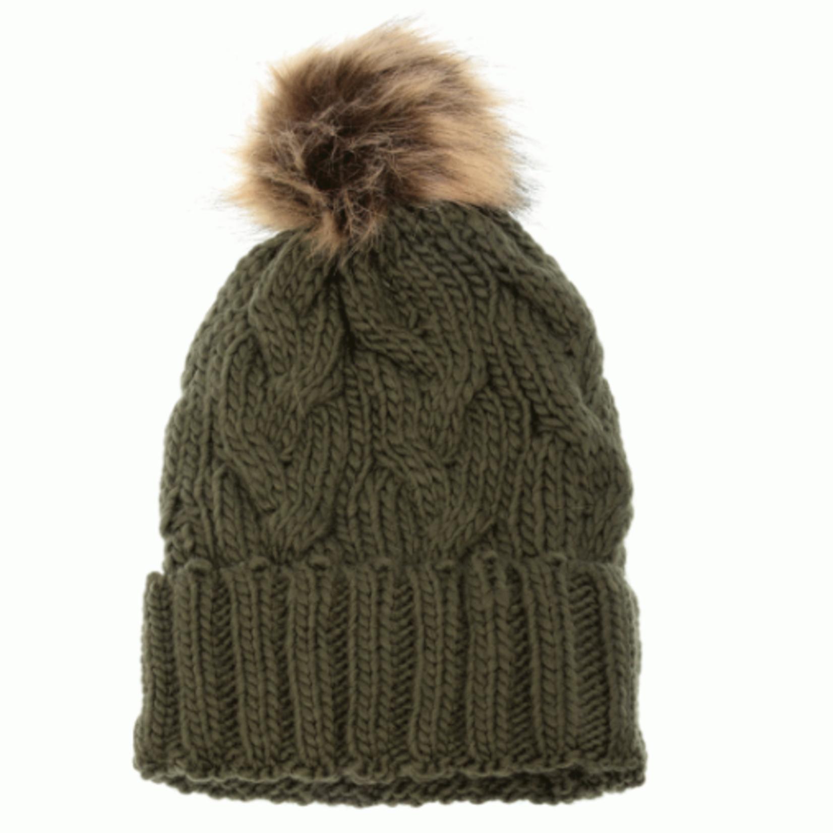 Joy Susan Joy Susan Cable Knit Pom Pom Hat