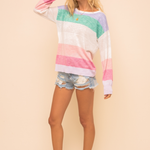 Hem & Thread Hem & Thread Multi Stripe Light Weight Sweater