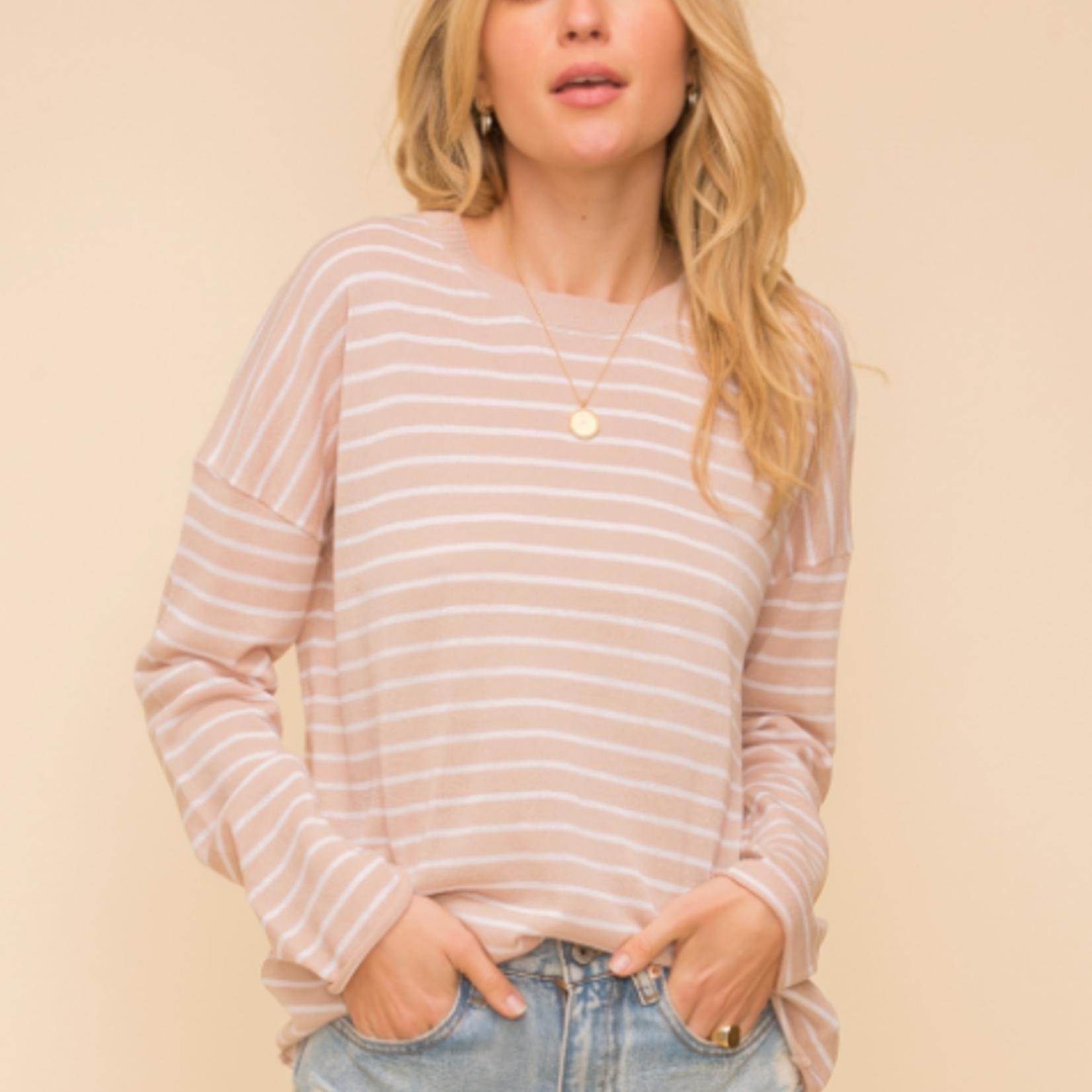 Hem & Thread Hem & Thread Oversized Pin Stripe Round Neck Sweater