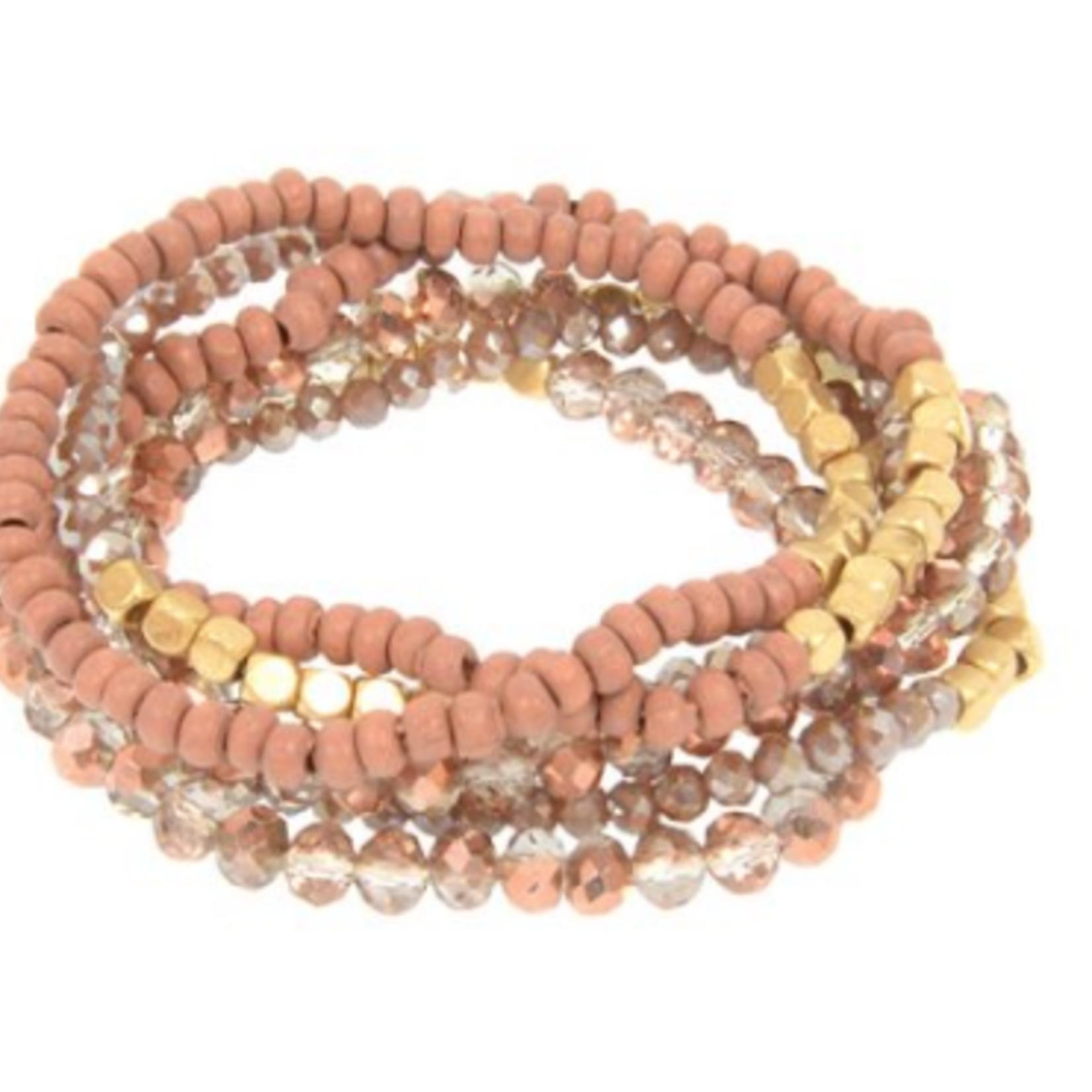 Joy Susan Joy Susan Mauve Glass & Wood Bead Bracelet