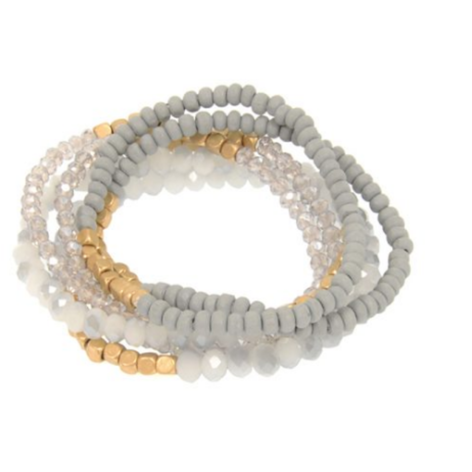 Joy Susan Joy Susan Light Grey Glass & Wood Bead Bracelet