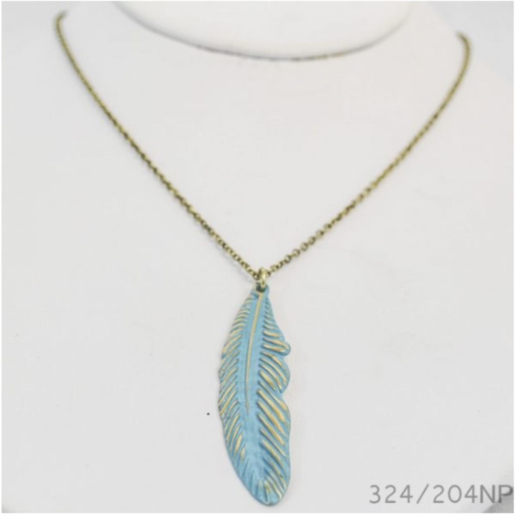 Joy Susan Joy Susan 16' Burnt Gold Patina Feather Necklace