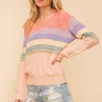 Hem & Thread Hem & Thread Multi Color Stripe Textured Sweater