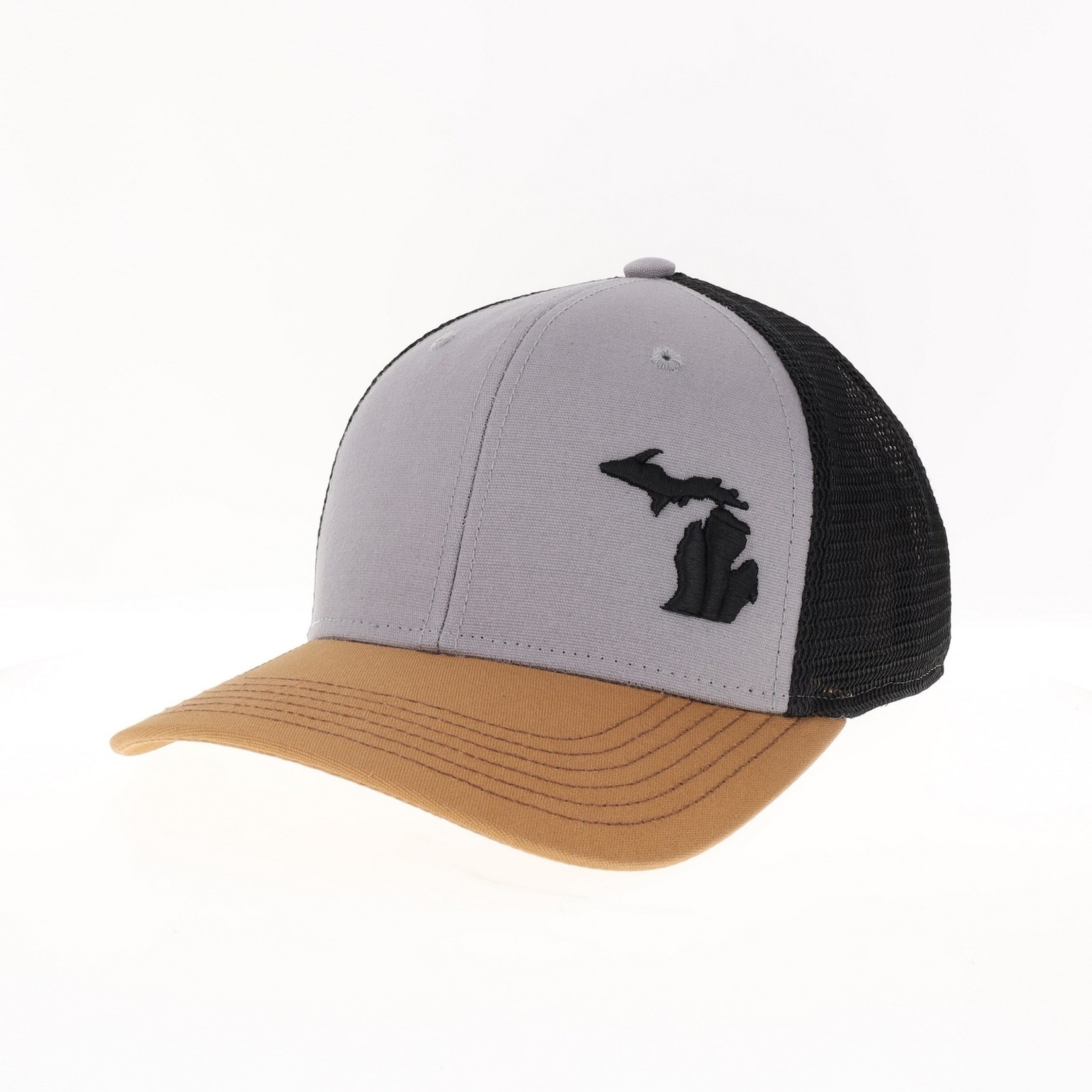 League League Legacy MPS w/ Texicon State of MI Outline Black Offset Trucker Hat - Grey/Caramel/Black