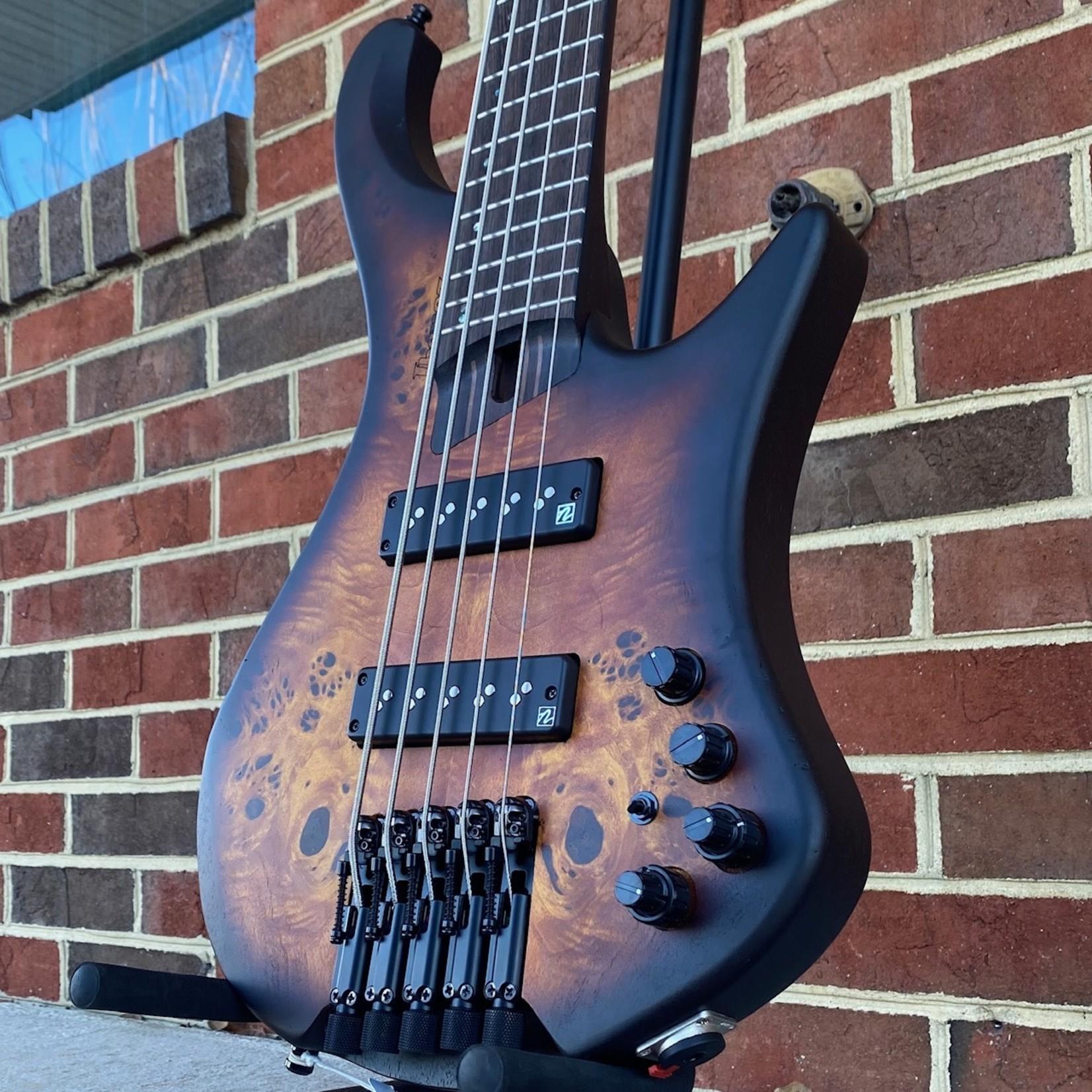Ibanez Ibanez Bass Workshop EHB1505DEF, 5 String, Headless, Dragon Eye Burst Flat, Poplar Burl Top, Nordstrand Big Split Pickups