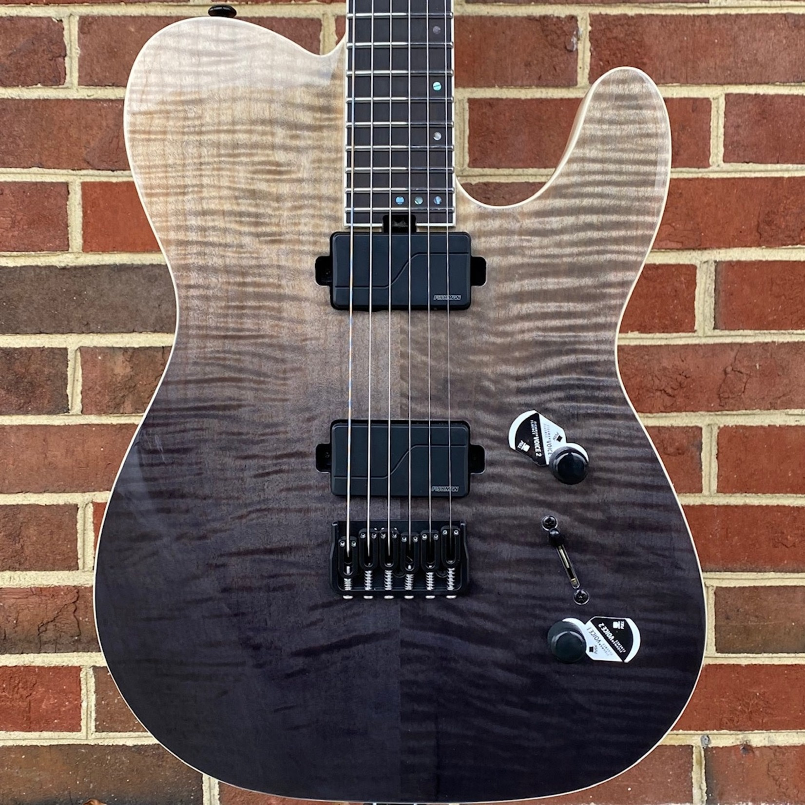 Schecter Guitar Research Schecter PT SLS Elite, Black Fade Burst, Flame Maple Top, Fishman Fluence Modern Pickups, Maple/Walnut/Paduk Multiply Neck, Neck Thru, Swamp Ash Body, Hipshot Hardtail w/ String-Thru Body, Locking Tuners