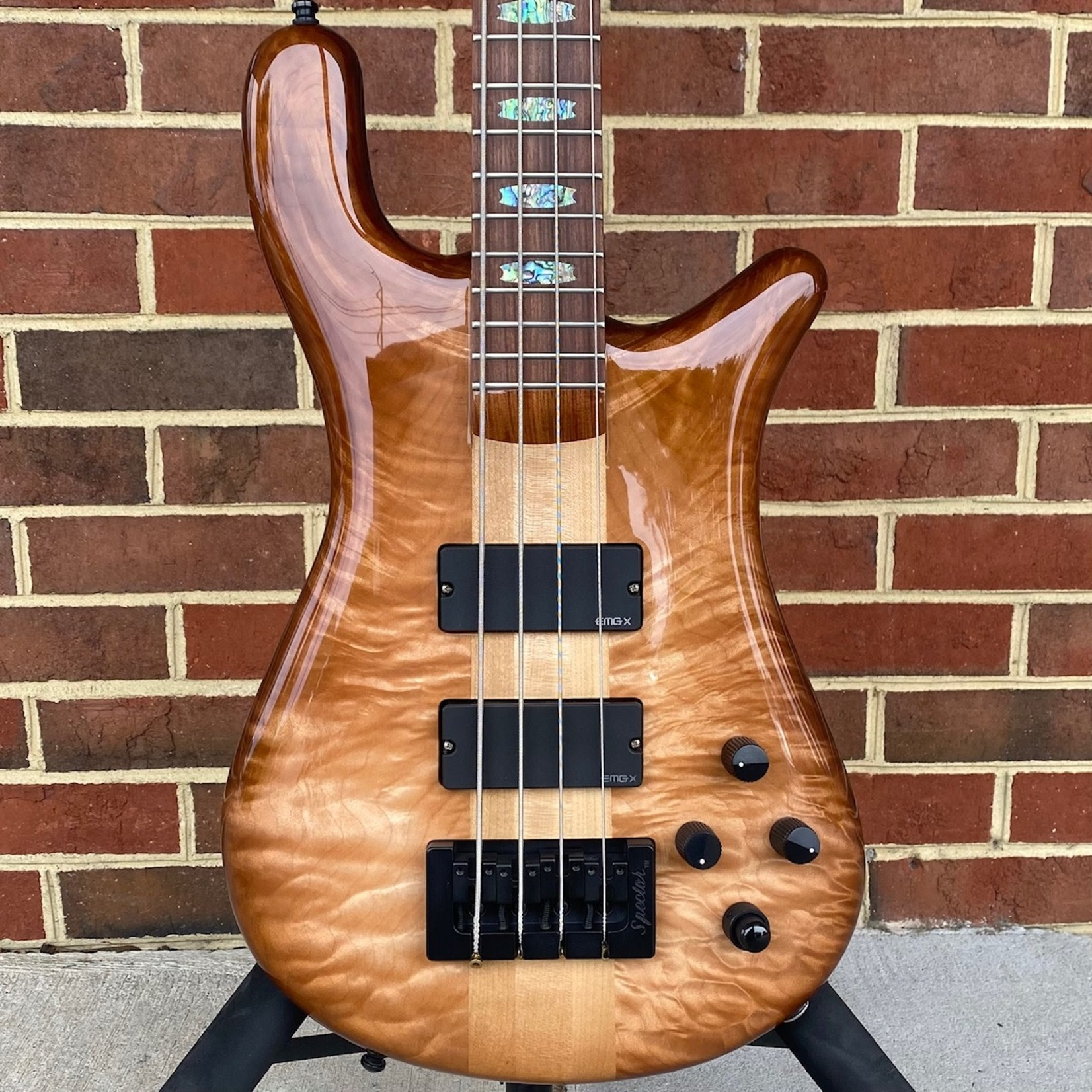 Spector Spector USA NS-4,  Curly Maple Top, Tobacco Sunburst, Weight Relieved Reclaimed Redwood Back, Maple Neck, Pau Ferro Fretboard, Abalone Inlays, Standard NS Neck, EMG 35DCX Pickups, Darkglass Tone Capsule, Hipshot Tuners