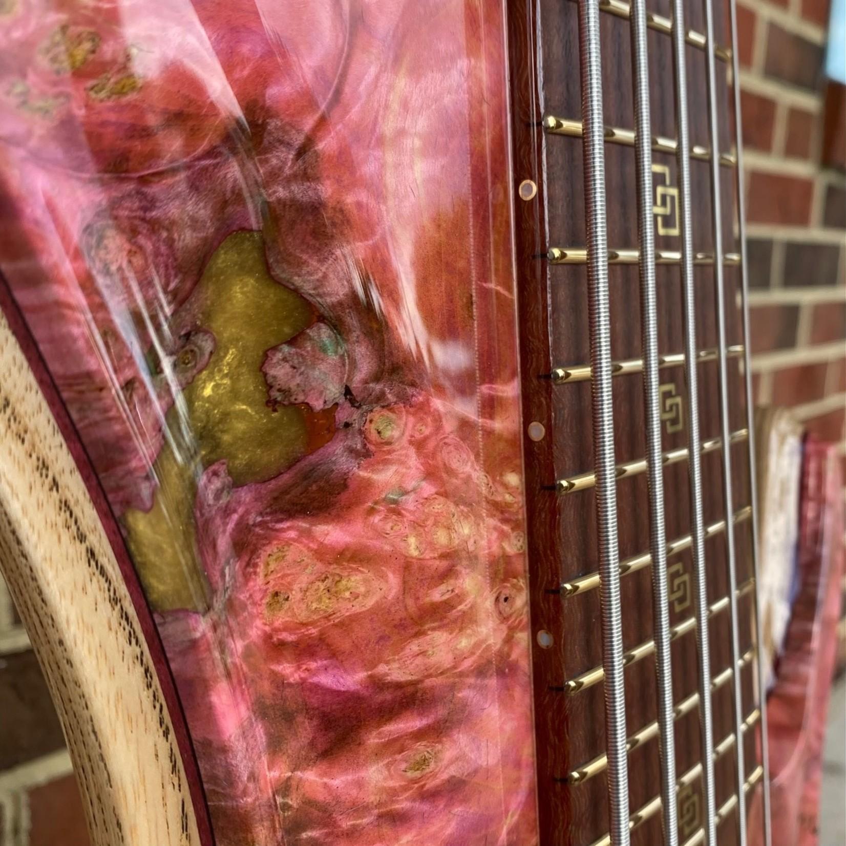 ESP ESP 2021 Exhibition Prototype Bass, 5-String, Single Cut, Stabilized Buckeye Burl w/ Blue + Pink Resin, Swamp Ash Body