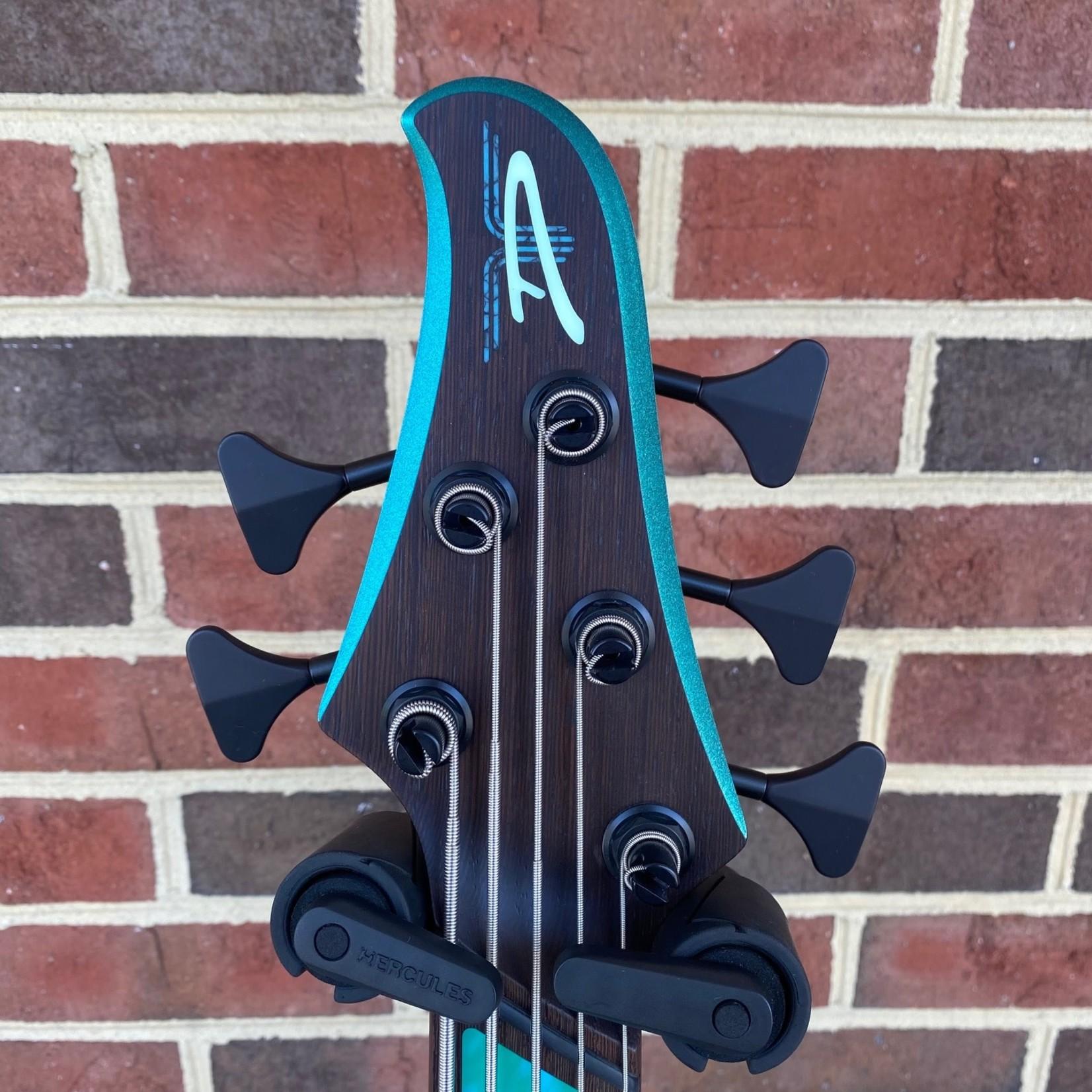 Dingwall Dingwall D-Roc Custom 5-String, Sage Green to Ice Blue Colorshift, Maple Neck, Wenge Fretboard, Marine Pearloid Block Inlays, Black Hardware, Dingwall Gig Bag