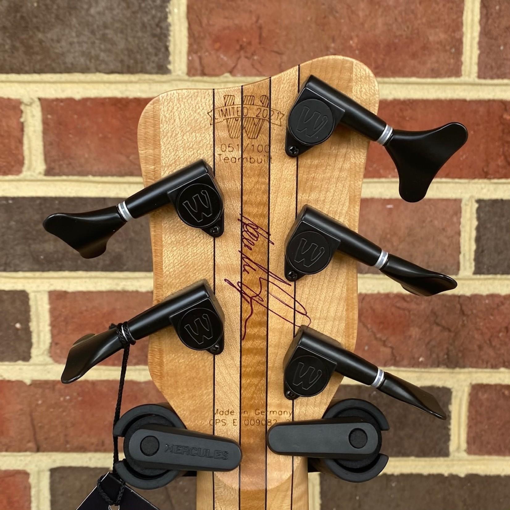 Warwick Warwick Pro Series 2021 LTD Streamer LX Bolt-On, #051 of 100 Worldwide, 5-String, Solid Black Korina Body, 9pc Maple/Ekanga Bolt-On Neck, Pau Ferro Fretboard, Matching Headstock, Passive Bartolini Soapbar Pickups, MEC Preamp, Rockbag Starline Gig Bag