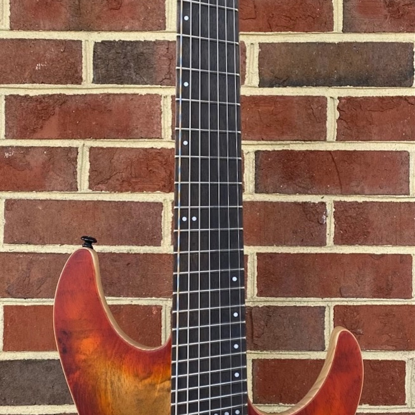 Schecter Guitar Research Schecter Reaper-7 Multiscale, Infernoburst, Poplar Burl Top, Ebony Fretboard, Maple/Walnut 5pc Neck, Hipshot Hardtail w/ String-Thru Body, Swamp Ash Body