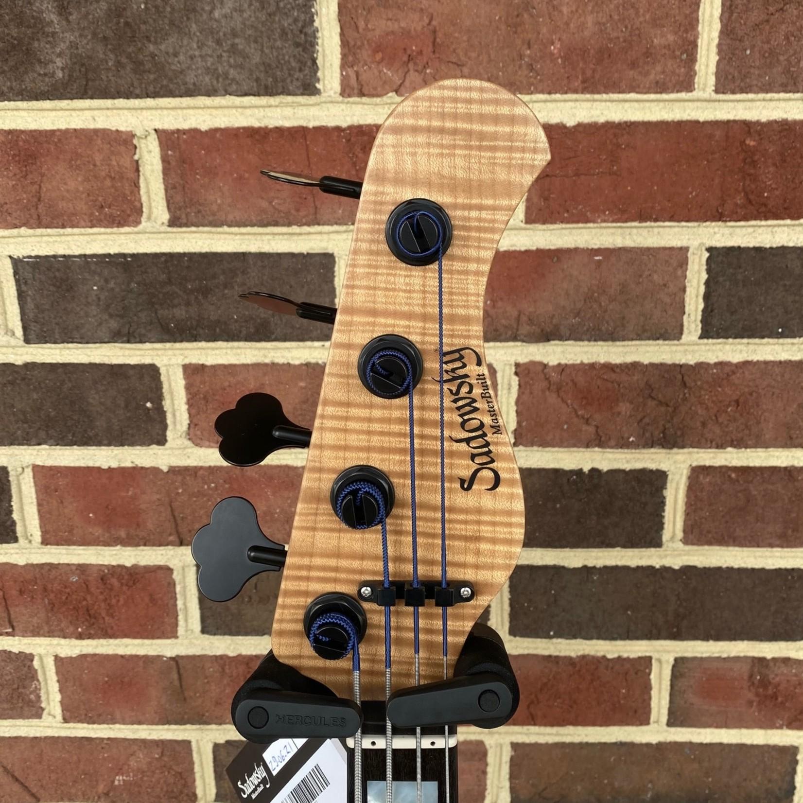 Sadowsky Sadowsky Masterbuilt 2021 LTD 24-Fret Modern, #03 of 30 Worldwide, 4-String, Wild Flame Claro Walnut Top, Okume Body, Roasted Flame Alpine Maple Neck, Mother Of Pearl Block Inlays, Black Ebony Fretboard