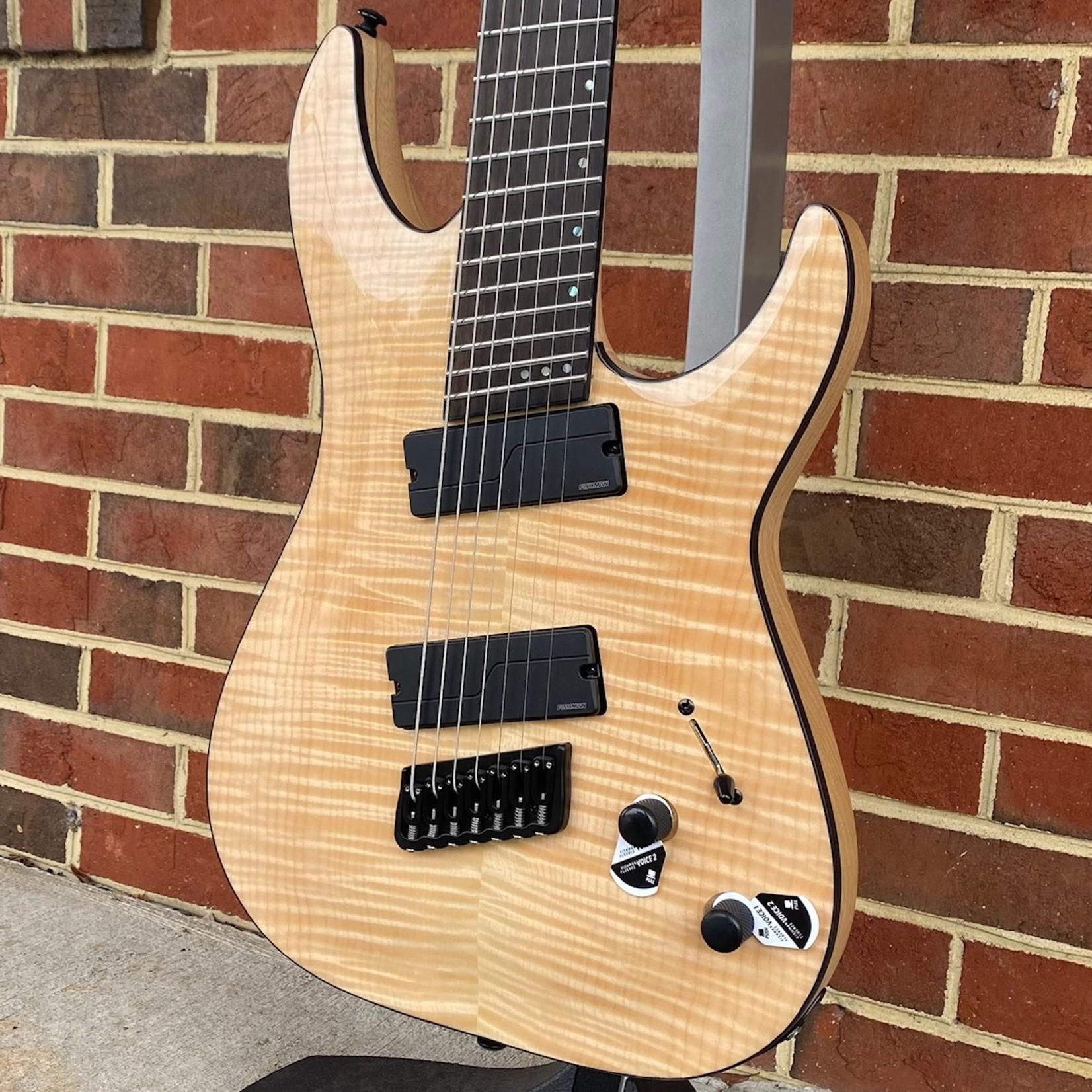 Schecter Guitar Research Schecter C-7 Multiscale SLS Elite, Gloss Natural, Flamed Maple Top, Neck Thru, Ebony Fretboard, Locking Tuners, Fishman Fluence Modern Pickups, Hipshot Bridge