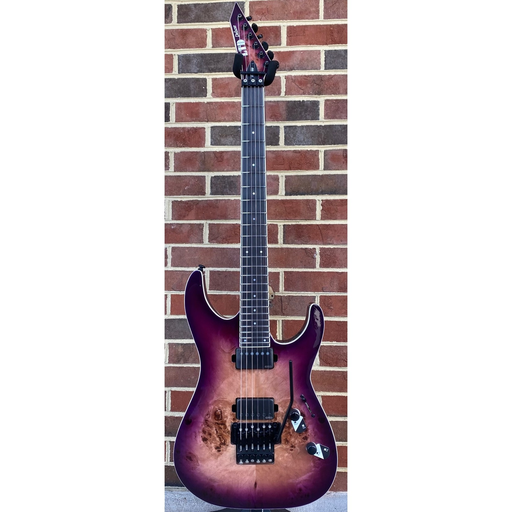LTD ESP LTD M-1000, Purple Natural Burst, Poplar Burl Top, Floyd Rose 1000SE, EMG 57/66TW, Macassar Ebony Fretboard