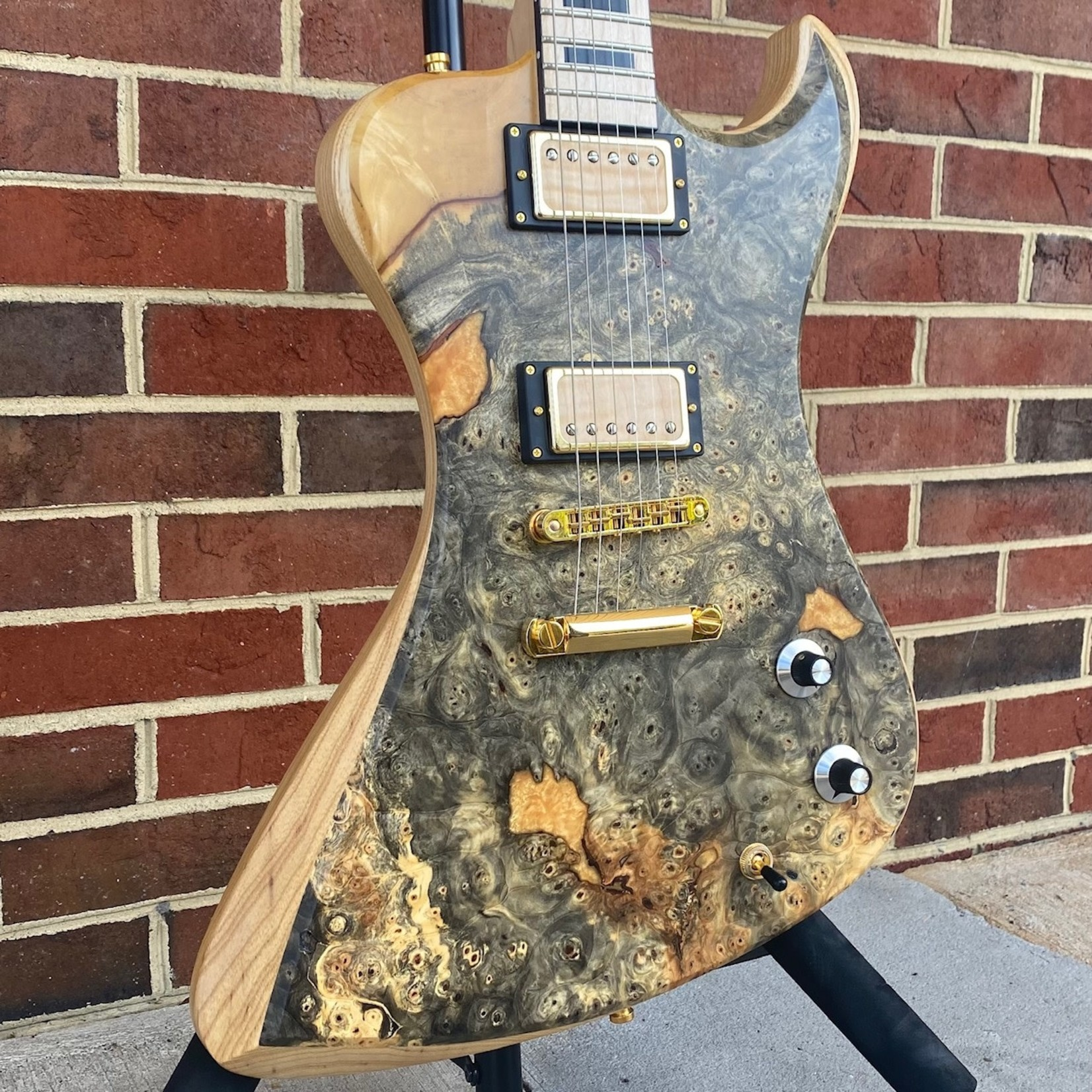 Dunable Guitars Dunable Guitars USA Special Stash #2 - R2, One Piece Buckeye Burl Top w/ Gold Sparkle Resin Fill, Swamp Ash Body, Maple Neck, Maple Fretboard, Block Inlays, Gold Hardware, Locking Tuners, Hardshell Case
