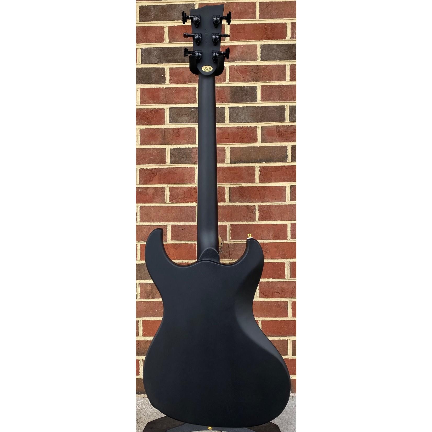 Dunable Guitars Dunable Guitars USA Custom Shop Gnarwhal, Mahogany Body, Matte Black, Black/Aged Gold Hardware, Ebony Fretboard, Block Inlays, Hardshell Case