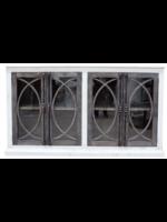 New VF Fish Door Console W/Glass Nero White Ashe Doors
