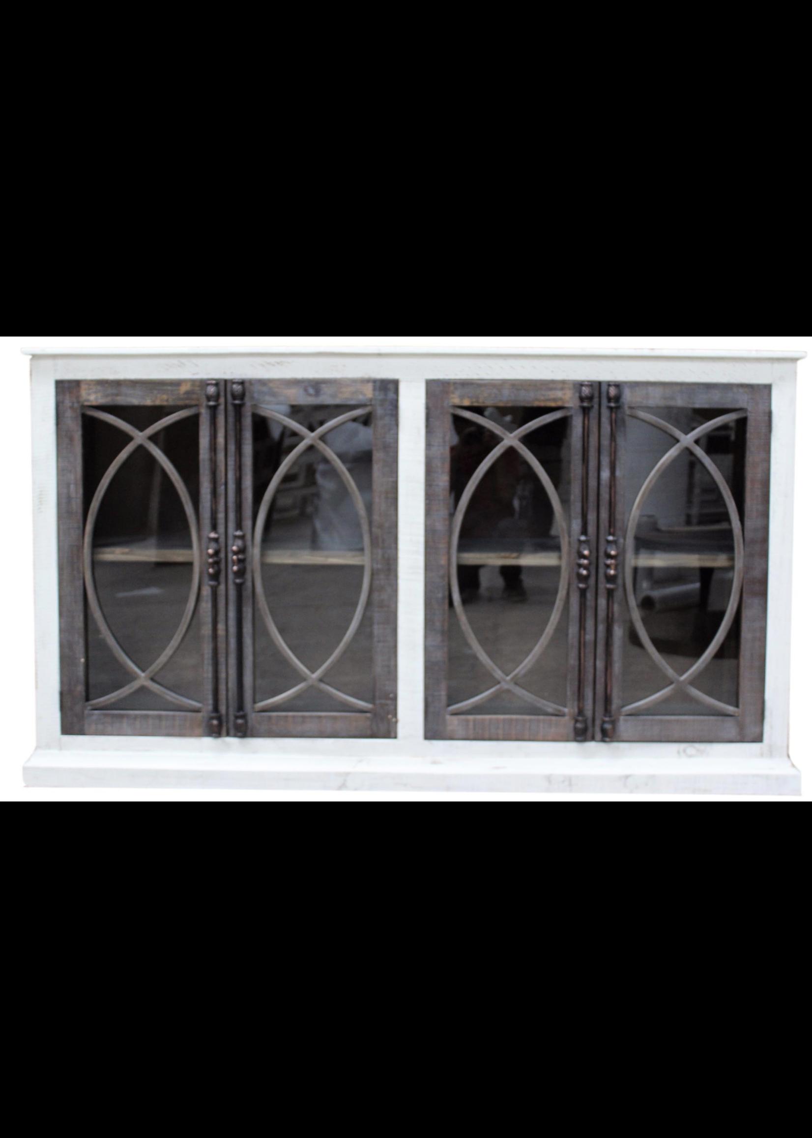 New Fish Door Console W/Glass Nero White Ashe Doors